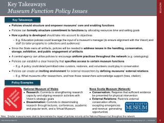 Key Takeaways Museum Function Policy Issues