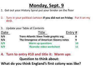 Monday, Sept. 9