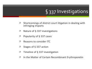 �  337 Investigations