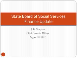 State Board of Social Services Finance Update