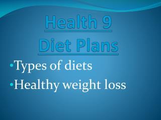 Health 9 Diet Plans