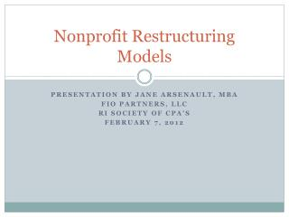 Nonprofit Restructuring Models