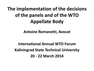 The implementation of the decisions of the  panels  and of the WTO Appellate Body