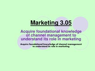 Marketing 3.05