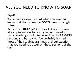 ALL YOU NEED TO KNOW TO SOAR