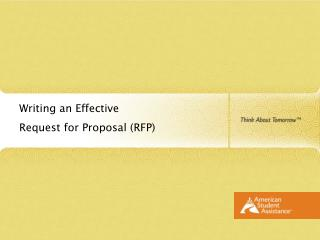 Writing an Effective  Request for Proposal RFP