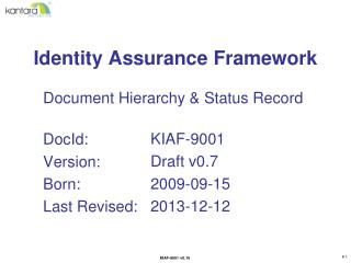 Identity Assurance Framework