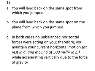 You will land back on the same spot  on the plane  from which you jumped.