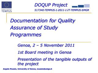 DOQUP  Project 517340‐TEMPUS‐1‐2011‐1‐IT‐TEMPUS‐SMGR