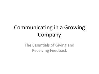 Communicating in a Growing Company