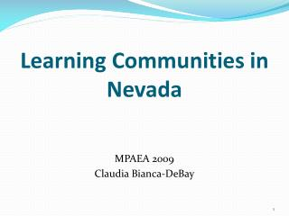 Learning Communities in Nevada