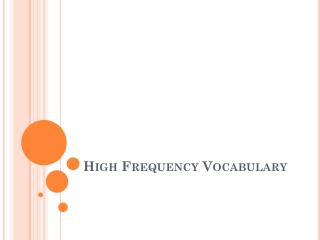 High Frequency Vocabulary