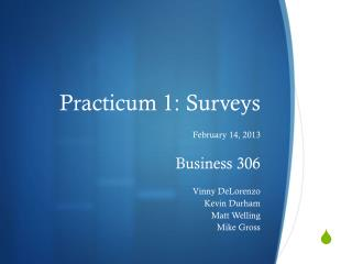 Practicum 1: Surveys
