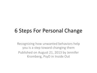 6 Steps For Personal Change