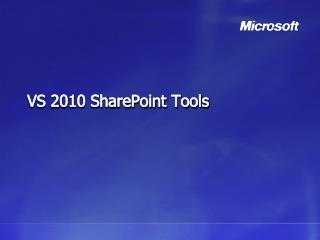 VS 2010 SharePoint Tools