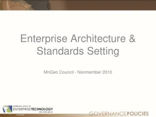Enterprise  Architecture  & Standards Setting MnGeo Council -  Nonmember 2010
