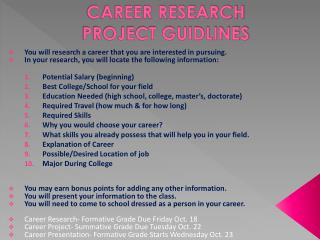 CAREER RESEARCH  PROJECT GUIDLINES