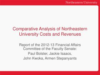 Comparative Analysis of Northeastern University Costs and Revenues