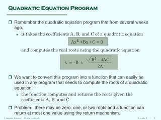 Quadratic Equation Program
