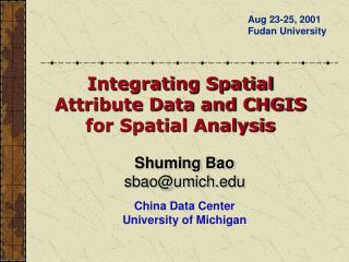 Shuming Bao sbaoumich  China Data Center University of Michigan