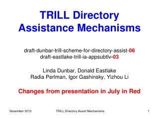 TRILL  Directory Assistance Mechanisms