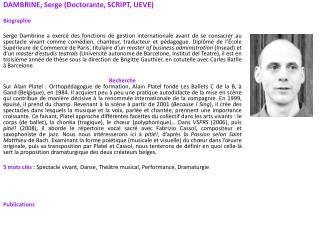 DAMBRINE, Serge (Doctorante, SCRIPT, UEVE) Biographie