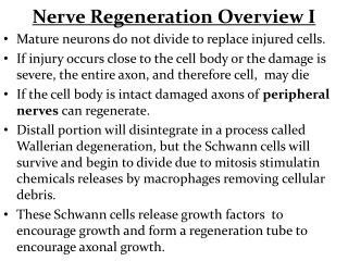 Nerve Regeneration Overview I