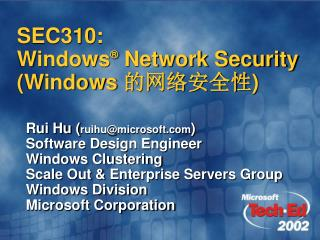 SEC310:   Windows  Network Security Windows