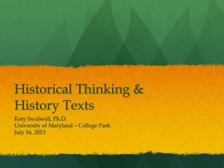 Historical Thinking & History Texts