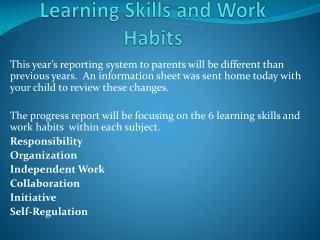 Learning Skills and Work Habits