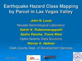 Earthquake Hazard Class Mapping by Parcel in Las Vegas Valley