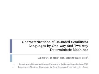 Characterizations of Bounded Semilinear Languages by One-way and Two-way Deterministic Machines