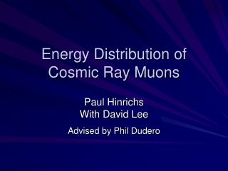 Energy Distribution of Cosmic Ray Muons