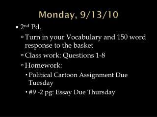 Monday, 9/13/10