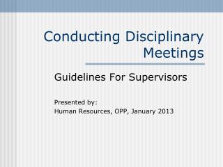 Conducting Disciplinary Meetings
