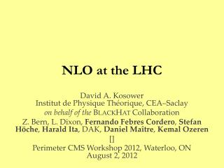 NLO  at the LHC