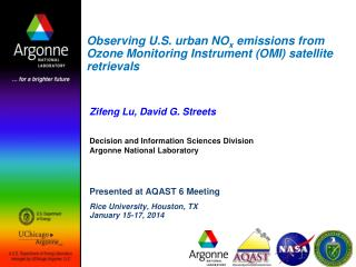 Zifeng Lu, David G. Streets Decision and Information Sciences Division Argonne National Laboratory