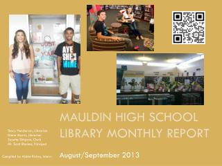 Mauldin high school library monthly report