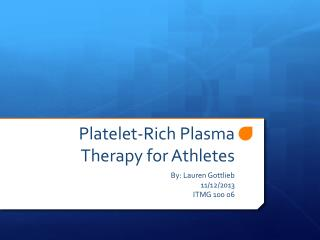 Platelet-Rich Plasma Therapy for Athletes