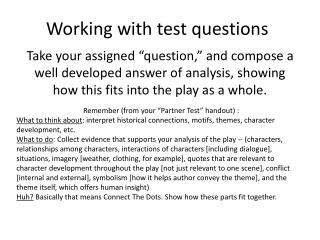 Working with test questions