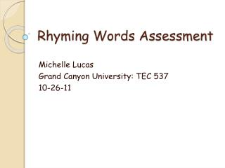 Rhyming Words Assessment