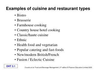 Examples of cuisine and restaurant types