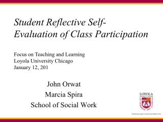 Student Reflective Self-Evaluation of Class Participation
