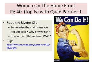 Women On The Home Front Pg.40   (top  ½) with Quad Partner 1