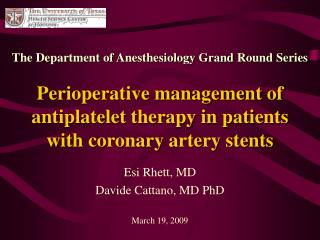 Perioperative management of antiplatelet therapy in patients with coronary artery stents