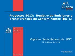 Proyectos 2013:  Registro de Emisiones y Transferencias de Contaminantes (RETC)