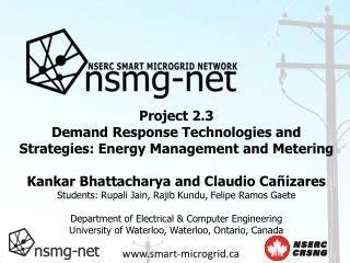 Project 2.3 Demand Response Technologies and Strategies: Energy Management and Metering