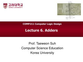 Lecture 6. Adders