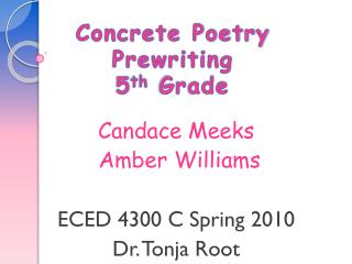 Concrete Poetry Prewriting 5 th  Grade