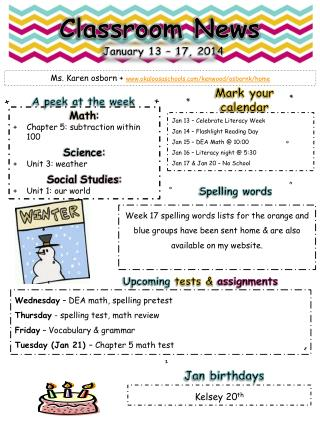 Wednesday  – DEA  math,  spelling pretest Thursday  - spelling  test, math review